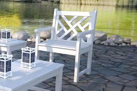 white garden stool wooden