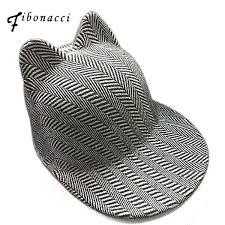 <b>Fibonacci</b> brand striped cat ears baseball cap <b>high quality fashion</b> ...