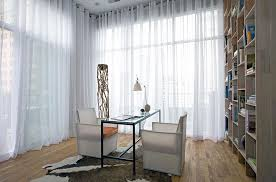 curtains for home office. view in gallery sheers hung from wall to give this home office a soft effect curtains for