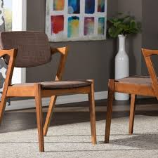 elegant brown fabric upholstered dining chairs set of 2