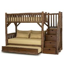 bunk bed with trundle and stairs. Brilliant Bunk Rustic Bunk Bed WTrundle U0026 Stairs 4690R 3 Twins Right On With Trundle And