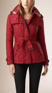 Quilted Trench Jacket with Detachable Hood in Dark Crimson - Women ... & Diamond Quilted Jacket with Detachable Hood | Burberry Adamdwight.com