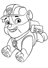 Paw Patrol Rubble With Backpack Coloring Page Paw Patrol Paw