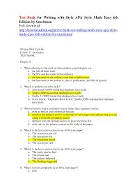 Apa Stle Test Bank For Writing With Style Apa Style Made Easy 6th