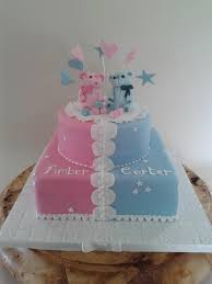 Christening Cake For Twins Party Cakes Cupcakes And Cookies In