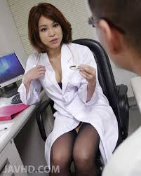 Hot Japanese nurse Erika Nishino feels horny