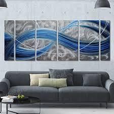winpeak pure handmade blue dream metal wall art painting home decor abstract modern sculpture contemporary decorative