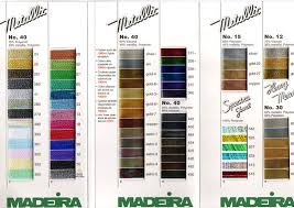 Madeira Embroidery Thread Colour Chart Madeira Metallic Thread No 40 Mainly Lace