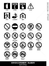 安全記号禁止記号 イラストセット 白黒日本語解説付きのイラスト