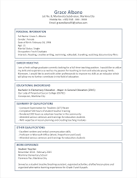 Sample Resume For Teaching Position Sample Resume Format for Fresh Graduates TwoPage Format 48