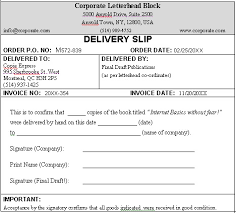 Delivery Slip Sample... Format For A Typical Business Delivery Slip.