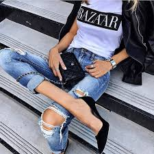 how to wear black heels with ripped jeans white tee and black leather jacket 2019