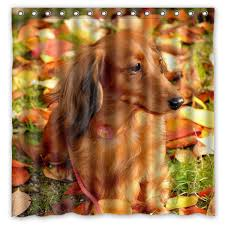 dachshund sausage dog waterproof shower curtain home bathroom curtains with 12 hooks polyester fabric bath curtain