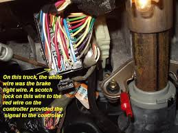 wire for brake control page 3 blazer forum chevy blazer forums a big rectangular connector the white wire at one corner of the connector is the one you need i d test it first though to make sure it s the