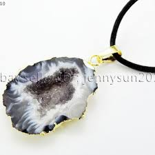 natural druzy quartz agate geode sliced pendant gold