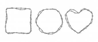 Free Vector | <b>Steel</b> barbwire set. circle, square and <b>heart shape</b> ...