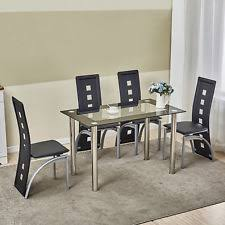 5 piece dining table set w 4 chairs gl metal kitchen room breakfast furniture