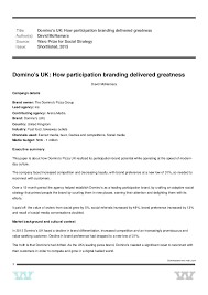 Domino S UK How Participation Branding Delivered Greatness WARC Pri