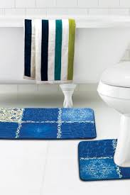 quick view quilted natural collage blue bath mat contour rug set