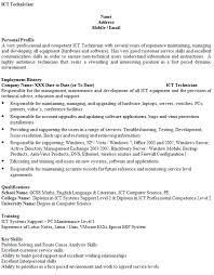 Cv Order Ict Technician Cv Example Icover Org Uk