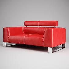 red leather sofa 01 3d model max obj fbx c4d