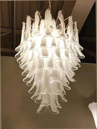 white glass chandelier mid century modern white transpa glass petals 8 tiers chandelier 7 light rewired white glass chandelier