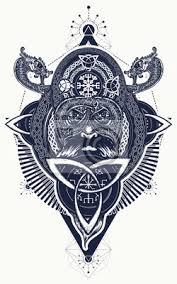 Obraz Viking Tetování A Tričko Design Severní Bojovník Keltský Znak