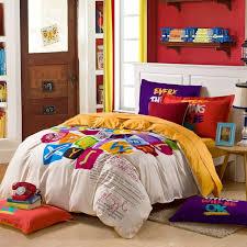 whole multi colour graffiti letter white queen king size bedding sets duvet cover sets