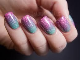 Springtime pink and green gradient | Chalkboard Nails | Nail Art Blog