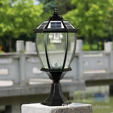 2019 solar power post lantern outdoor post lights super bright led garden lights walll lamp warm white cold white color light sensor functions from