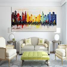 Paintings For Living Room Wall 120x60cm Modern City Canvas Abstract Painting Print Living Room