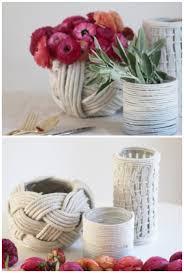 6 Crochet Vases. rope DIY vases