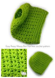 Free Crochet Patterns Interesting Easy Peasy Messy Bun Hat Crochet Pattern 48in48 Full Beanie Too
