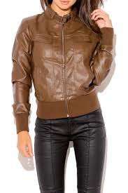 miss sasa vegan leather jacket front cropped image