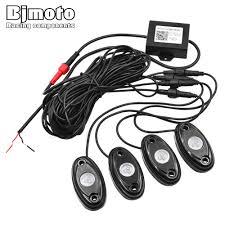 Bjmoto set of 4pods install bluetooth controller rgb 4 pods led rock lights decorate light bluetooth