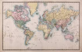 1860 vintage world map