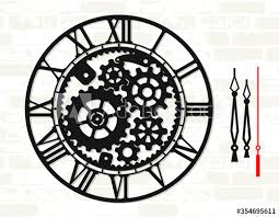 wall clock template with mechanical