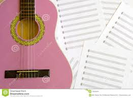 Treble Clef Music Sheet Violet Guitar For Children With Treble Clef On Music Sheets Back