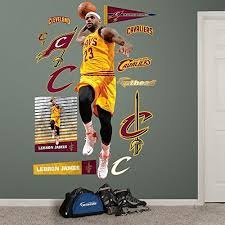 nba cleveland cavaliers lebron james dunk fathead real big decals 29 w x 88 h on cleveland cavaliers wall art with cleveland cavaliers wall decor amazon