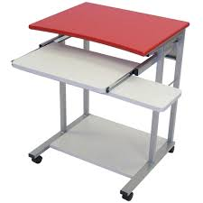 ... Large Size Surprising Red Touch Of Metal Collapsible Computer Desk With  Drawer And Etra Shelving ...