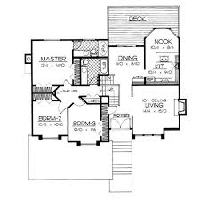 small house plan layout with breakfast nook dining area and rear deck