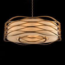 limited ion design stock grand wave art metal encased drum pendant gold leaf finish 60w h 18 dia 42 inches 10ft drop chain partner