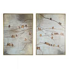 on brown framed wall art with flock of birds handpainted framed canvas wall art grahambrownus