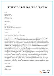 Sample Letter To Judge For Child Custody Best Letter Template