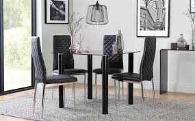 gallery nova square black glass dining table