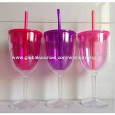 china plastic wine glass plastic cup with lid and straw double insulated goblet style tumbler