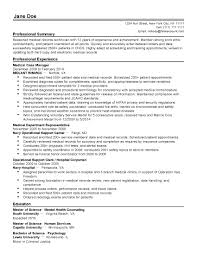 Hospital Clerk Resume Free Download Professional Medical Records