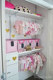 An organized baby closet with the help of Closetmaid ShelfTrack Elite  products found at Lowe's Canada! What a neat and cute idea.