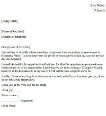 Spa Therapist Resignation Letter Example Toresign Com