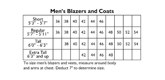 Mens Sport Jacket Size Chart Bedowntowndaytona Com